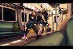 baseball_cap cameo denim denim_shorts endou_yuu fighting_stance hat holding holding_poke_ball kamitsure_(pokemon) kamitsure_(pokemon)_(cameo) letterboxed litwick poke_ball pokemon pokemon_(game) pokemon_black_and_white pokemon_bw pose shorts subway touko_(pokemon) touya_(pokemon) train tsubame_fuji_(nanashi)