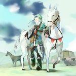 bad_id braid feathers gradient_hair green_hair horse kawwa male multicolored_hair original ram short_hair solo tent
