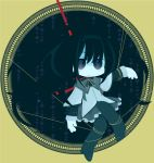 akemi_homura bad_id black_eyes black_hair bondage capelet chibi gears hairband high_heels long_hair magical_girl mahou_shoujo_madoka_magica pantyhose pleated_skirt ribbon riku_(axion_channel) shoes skirt solo string tied_up tiger_&_bunny
