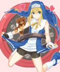 bike_shorts bridget_(guilty_gear) dress dress_lift guilty_gear heart moketa roger stuffed_animal stuffed_toy teddy_bear trap yo-yo