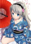 1girl ari_don blue_eyes clannad hairband japanese_clothes kimono long_hair sakagami_tomoyo silver_hair sitting umbrella wariza