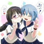 2girls ace_rocket akemi_homura blue_eyes blue_hair blush bow braid cheek-to-cheek glasses long_hair mahou_shoujo_madoka_magica miki_sayaka multiple_girls school_uniform serafuku short_hair twin_braids violet_eyes wink