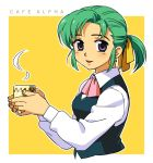 coffee cup earrings green_hair hair_ribbon hatsuseno_alpha jewelry ponytail purple_eyes ribbon rintarou solo violet_eyes waitress waitress_uniform yokohama_kaidashi_kikou