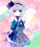 ame_tame arms_behind_back bad_id bob_cut hairband konpaku_youmu konpaku_youmu_(ghost) pale_color pale_colors short_hair silver_hair solo touhou vest
