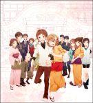 everyone hair_ornament hanasaku_iroha hand_holding highres holding_hands japanese_clothes jiroumaru_tarou kawajiri_takako matsumae_ohana miyagishi_tooru ono_(0_no) oshimizu_nako shijima_enishi shijima_sui sugekawa_denroku sukegawa_denroku tanemura_kouichi togashi_renji tsurugi_minko wajima_tomoe wakura_yuina wink