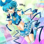 bike_shorts blue_eyes blue_hair blue_legwear blue_ribbon bow character_name cure_blue dress fingerless_gloves frills gathers gloves hair_between_eyes hair_ribbon kneehighs magical_girl midriff navel nishijima_waon nzack pointing precure ribbon ruffles shoes short_hair smile solo spiked_hair spiky_hair suite_precure what_if