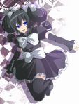 black_hair black_legwear blue_eyes detached_sleeves dress gothorita hair_ribbon personification pokemon pokemon_(game) pokemon_black_and_white pokemon_bw ribbon sakura_(lilak_a) simple_background smile solo thighhighs white_background