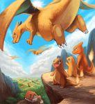 charizard charmander charmeleon cloud family fire inumura_(inu_noya) no_humans pokemon pokemon_(creature) scenery sky