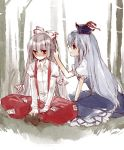 akr_et bad_id bamboo bamboo_forest blue_hair blush dress embarrassed faux_traditional_media forest fujiwara_no_mokou hair_ribbon hand_in_hair hat indian_style kamishirasawa_keine long_hair long_sleeves looking_away multiple_girls nature pants red_eyes ribbon short_sleeves silver_hair sitting smile suspenders touching touhou traditional_media watercolor_(medium)