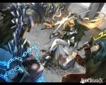 armor battle blonde_hair chain chains glowing glowing_eyes huge_sword huge_weapon long_hair magic pixiv pixiv_fantasia pixiv_fantasia_4 sword takayama_dan weapon youzan_dan
