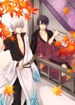 arima_(iro_rabbit) barefoot eyepatch gintama green_eyes japanese_clothes katana kimono kiseru multiple_boys pipe purple_hair red_eyes sakata_gintoki short_hair sitting sword takasugi_shinsuke weapon white_hair