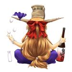 bottle bow egg from_behind hair_bow horns ibuki_suika juggling long_hair murasaki_kajima object_on_head orange_hair paper_bag ribbon sake simple_background sitting touhou wrist_cuffs