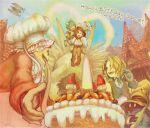 black_hair blonde_hair bottle cake chocobo eiko_carol final_fantasy final_fantasy_ix flying food garnet_til_alexandros_xvii gloves hat moogle pastry quina_quen sumi_(nd60) vivi_ornitier zidane_tribal