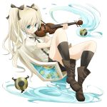 blonde_hair chair highres instrument kneehighs long_hair original sitting smile socks solo tansuke violin