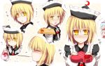 blonde_hair blue_hair blush brown_hair closed_eyes embarrassed expressions gift hat holding holding_gift incoming_gift kazetto lunasa_prismriver lyrica_prismriver merlin_prismriver pocky short_hair touhou translated tsundere valentine yellow_eyes