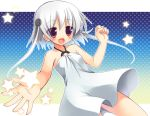 aries_(himawari) aries_(himawari_game) bare_shoulders blush dress fang flat_chest grey_hair hair_ornament hands himawari_(game) himawari_-pebble_in_the_sky- letterboxed loli long_hair o-ring_top open_mouth outstretched_arm outstretched_hand polka_dot polka_dot_background red_eyes sazaki_ichiri silver_hair smile solo standing star sundress twintails white_hair