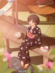 airily_steps black_hair brown_eyes food fruit holding holding_fruit idolmaster japanese_clothes kikuchi_makoto kimono maachin sandals short_hair sitting watermelon yukata