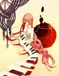 aqua_eyes bad_id hair_ornament hair_over_one_eye highres instrument keyboard keyboard_(instrument) long_hair megurine_luka pink_hair sitting solo tomero vocaloid