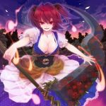 breasts cleavage dusk flower ghost hair_bobbles hair_ornament highres hitodama large_breasts last_c onozuka_komachi red_eyes red_hair redhead scythe short_hair solo spider_lily touhou twintails weapon