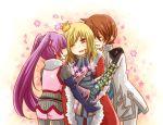 2boys asbel_lhant blonde_hair brown_hair hug hug_from_behind multiple_boys natsuki_(pixiv357819) purple_hair red_eyes richard_(tales_of_graces) sophie_(tales_of_graces) tales_of_(series) tales_of_graces twintails