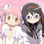 2girls akemi_homura black_hair blush dress glasses goddess_madoka hair_ribbon kaname_madoka long_hair long_sleeves mahou_shoujo_madoka_magica multiple_girls ototsu_(nitta225) pink_hair ribbon short_sleeves smile spoilers two_side_up violet_eyes yellow_eyes