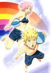 haruno_sakura highres naruto pink_hair rainbow scan shorts uzumaki_naruto