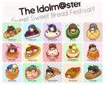 >_< 6+girls ahoge akizuki_ritsuko akizuki_ryou amami_haruka antenna_hair bagel boy_in_food bread chart cherry chibi chocolate_cornet croissant cupcake doughnut ech food fruit futami_ami futami_mami ganaha_hibiki hagiwara_yukiho hidaka_ai highres holding holding_fruit hoshii_miki idolmaster in_food kikuchi_makoto kisaragi_chihaya melon_bread minase_iori miniboy minigirl miura_azusa mizutani_eri multiple_girls o3o pastry pie sandwich shijou_takane smile strawberry swiss_roll takatsuki_yayoi typo