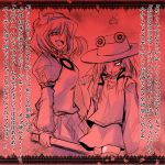 angry bad_end confession crazy_eyes glowing glowing_eyes highres lace_border monochrome moriya_suwako pov pyonta red red_background rejection sen_(astronomy) slit_pupils thighhighs touhou translated translation_request yasaka_kanako you_gonna_get_raped