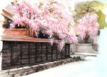 east_asian_architecture neon_(artist) original scenery spring spring_(season) stone street traditional_media tree wall watercolor_(medium)