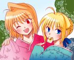 2girls asuka_(aqua_space) blonde_hair blue_eyes crossover eating fate/stay_night fate_(series) japanese_clothes red_eyes saber short_hair tsukihime wink