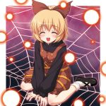 blonde_hair bow closed_eyes danmaku hair_bow kurodani_yamame ribbon short_hair sitting smile spider_web touhou v_arms wariza yamasan
