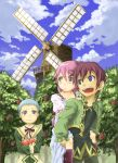 1girl 2boys apple asbel_lhant blue_eyes blue_hair brown_eyes brown_hair cheria_barnes food fruit hubert_ozwell marimo_(momiage) multiple_boys piggyback pink_hair tales_of_(series) tales_of_graces windmill young