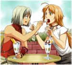 428 ahoge androgynous bare_shoulders blonde_hair brown_eyes canaan canaan_(character) feeding flat_chest food ice_cream long_hair mknown mori_(unknown.) multiple_girls oosawa_maria open_mouth short_hair sleeveless sleeveless_turtleneck spoon tongue turtleneck