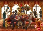 blue_eyes blue_hair bottle brown_eyes butler cake couch dress eating elizabeth_(gintama) eyepatch flower food fork formal gintama glasses hair_ornament hairpin hengyo kagura_(gintama) katsura katsura_kotarou kawakami_bansai kijima_matako kotarou_katsura legs long_hair lying maid male necktie okada_nizou pastry pink_hair purple_hair ribbon rose sakata_gintoki shimura_shinpachi short_hair sitting space_craft suit takasugi_shinsuke takechi_henpeita thigh-highs thighhighs tray twintails vine waiter white_hair window wine