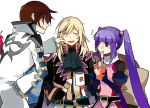 2boys asbel_lhant blonde_hair brown_hair eating food long_hair multiple_boys noodles pinch pinching purple_hair richard_(tales_of_graces) sophie_(tales_of_graces) starshadowmagician tales_of_(series) tales_of_graces twintails white_background