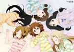 akiyama_mio alternate_hairstyle artist_name black_eyes black_hair blonde_hair brown_eyes brown_hair circle_formation closed_eyes eyes_closed hair_down heart heart_print hirasawa_ui hirasawa_yui hoodie k-on! kotobuki_tsumugi long_hair lying multiple_girls musical_note nakano_azusa outstretched_hand polka_dot short_hair side_ponytail signature sleep_wear sleeping sleepwear star star_print striped striped_sweater suzuki_jun sweater tainaka_ritsu twintails wink yamasaki_wataru