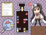 :3 akemi_homura blush_stickers braid chibi clipboard cosplay dr._mario dr._mario_(cosplay) dr.mario drugs glasses kyubey labcoat magnifying_glass mahou_shoujo_madoka_magica monsterheart pantyhose parody pill red-framed_glasses stethoscope translated twin_braids