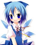 blue_dress blue_eyes blue_hair blush bow cirno dress hair_bow ichihina open_mouth shirt short_hair smile solo touhou wings