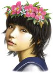 1girl black_eyes black_hair dotechin face flower hair_flower hair_ornament head_wreath lips realistic school_uniform serafuku short_hair simple_background solo to_aru_majutsu_no_index uiharu_kazari white_background