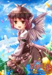bad_id bird blue_sky blush brown_eyes dress flower hat kirise looking_at_viewer lowres mystia_lorelei open_mouth petals pink_hair short_hair sky smile solo touhou wings