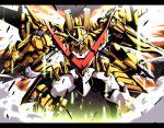 digimon digimon_xros_wars drill dust epic gattai green_eyes letterboxed nijiirosekai no_humans satsuki_mei_(sakuramochi) shoutmon_x7_superior_mode solo wings