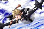 airplane blonde_hair breasts detached_sleeves gun large_breasts mecha_musume military ocean oekaki open_mouth original rifle sky solo weapon wwii xp-55 yonezuka_ryou