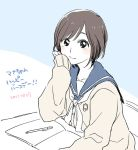 birthday black_eyes brown_hair chin_rest desk love_plus peg pencil school_uniform serafuku short_hair sitting solo takane_manaka translated