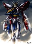 fog g_gundam glowing glowing_eyes god_gundam gundam haganef mecha no_humans sky solo super_robot