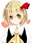 :3 ascot blonde_hair blush face hair_ribbon heart light_smile lips looking_at_viewer orange_eyes portrait ribbon rumia short_hair simple_background solo the_embodiment_of_scarlet_devil touhou youkai yutazou