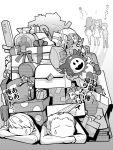 3girls amagi_yukiko atlus bag candy_cane character_doll dress gift hockey_stick jack_frost kujikawa_rise kuma_(persona_4) long_hair monochrome multiple_boys multiple_girls narukami_yuu outstretched_arms persona persona_4 pile polka_dot ribbon satonaka_chie short_hair skirt swear t0kiwa tatsumi_kanji translated translation_request twintails umbrella