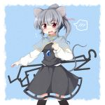 akagaminanoka alternate_hairstyle animal_ears blush capelet dowsing_rod fang fuuen_(akagaminanoka) gem grey_hair hair_ribbon jewelry mouse_ears mouse_tail nazrin necklace open_mouth outstretched_arm pendant ponytail red_eyes ribbon shirt skirt skirt_set solo standing tail touhou vest