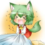 /\/\/\ animal_ears arm ascot blush chibi clothes_grab dog_ears dog_tail fang green_hair kazami_yuuka kemonomimi_mode minigirl open_mouth plaid plaid_skirt plaid_vest rebecca_(keinelove) rebecca_(naononakukoroni) shirt short_hair skirt skirt_set tail tears touhou trembling vest wavy_mouth youkai
