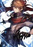 1boy bangs black_gloves blue_eyes brown_hair closed_mouth crossed_bangs genshin_impact gloves hair_between_eyes highres jacket jewelry looking_at_viewer male_focus mask mask_on_head mephist pants red_scarf scarf simple_background single_earring solo tartaglia_(genshin_impact) vision_(genshin_impact) water white_background