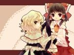 amaama ascot bad_id black_dress blonde_hair bow braid brown_hair capelet detached_sleeves dress green_eyes hair_bow hair_tubes hakurei_reimu hat hat_removed headwear_removed highres kirisame_marisa letterboxed miko multiple_girls open_mouth red_dress red_eyes touhou witch witch_hat